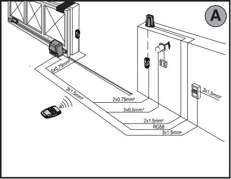Sơ đồ lắp đặt motor cổng ARES UlTRA