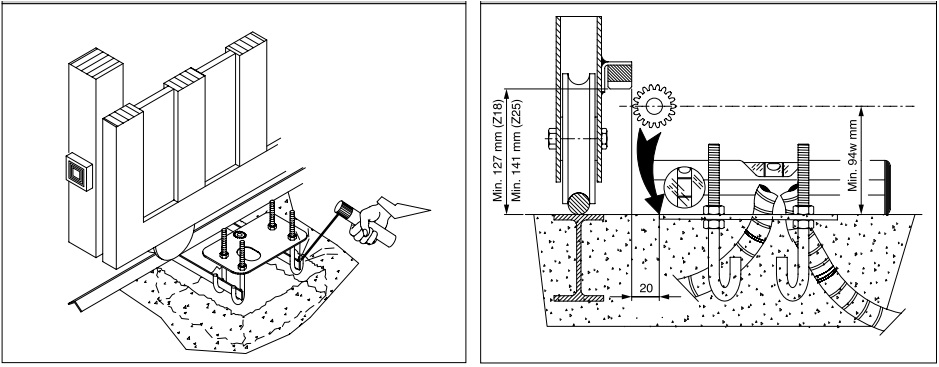 Hướng dẫn đào hố, đổ bê tông, làm đế motor cổng lùa ICARO
